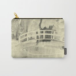 Monet's Bridge- black and white Carry-All Pouch
