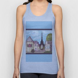 Paris Eiffel Tower inspired landscape painting by Kristie Hubler Unisex Tank Top