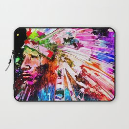 Native American Grunge Portrait Laptop Sleeve