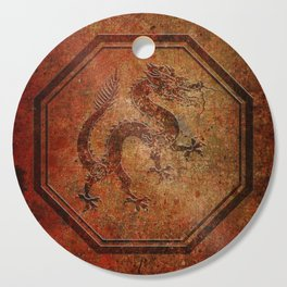 Distressed Chinese Dragon In Octagon Frame Cutting Board