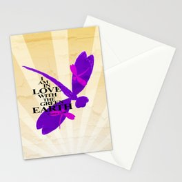 Dragonflies Green Earth Love Stationery Cards