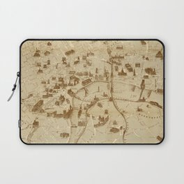 Vintage Map of London England Monuments (1877) Laptop Sleeve