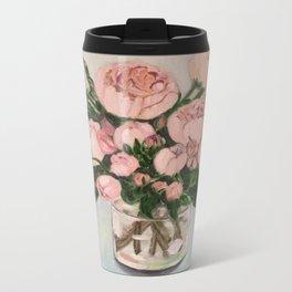 Blush pink roses.. Metal Travel Mug