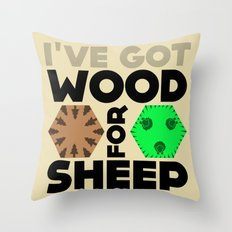 Wood for Sheep (Catan series) Throw Pillow