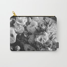 Black and White Lisianthus Carry-All Pouch