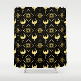 Gold Phoenix and lotus symbol pattern on black Shower Curtain