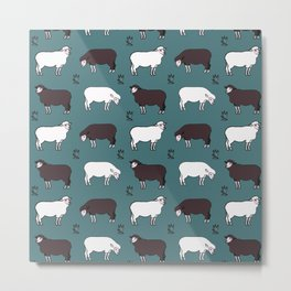 Sheep spread green Metal Print