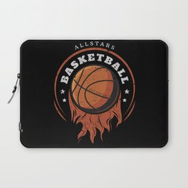 Basketball ball on fire, distressed effect for basketball lovers. Laptop Sleeve