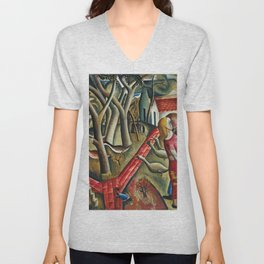 1924 Classical Masterpiece 'The Magical Garden Enclosed' portrait painting by David Jones Unisex V-Neck