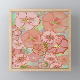 Fanciful Coral & Soft Peach Morning Glories Framed Mini Art Print