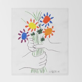Pablo Picasso Bouquet Of Peace 1958 (Flowers Bouquet With Hands), T Shirt, Artwork Throw Blanket