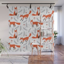 Red foxes and berries in the winter forest Wall Mural