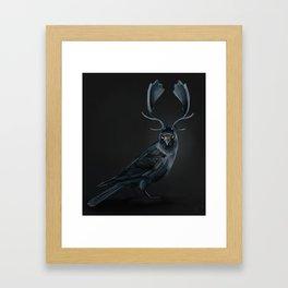 Jackdaw Antlered Framed Art Print