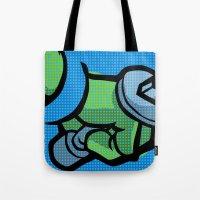 lichtenstein Tote Bags featuring Lichtenstein Pop Martial Art Chelonians | Blue by Butcher Billy