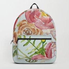 Bouquet of Spring Flowers Light Aqua Backpack