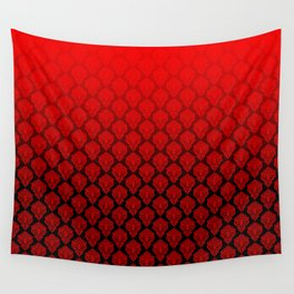 Black and Red Pentagram Damask Pattern Wall Tapestry