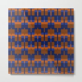 Squares and Lines in Blues and Tans Metal Print