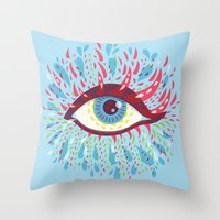 Weird Blue Psychedelic Eye Throw Pillow
