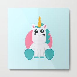Even Unicorn's Get Sad Metal Print