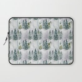 Watercolor forest green snow Christmas pine tree Laptop Sleeve
