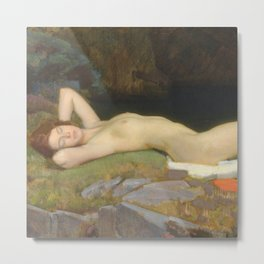 Reclining Nude by the Forest River and Waterfall Pastoral by Dod Procter  Metal Print