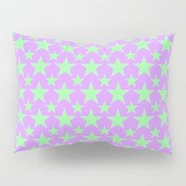 Green Star Pattern on Purple Pillow Sham