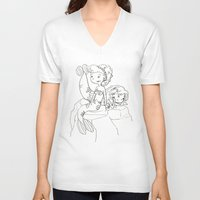 mermaids V-neck T-shirts featuring Mermaids by Coily and Cute