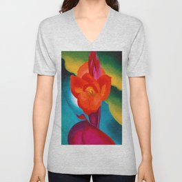 Red Canna Lilies Flower Still life Portrait Painting by Georgia O'Keeffe Unisex V-Neck