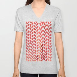Cute watercolor knitting pattern - red Unisex V-Neck