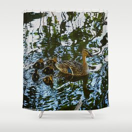 Little Quackers: Mother and Ducklings (Chicago North Pond Collection) Shower Curtain