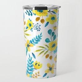 Floral Yellow Pattern Travel Mug