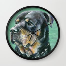 The Colorful Rottweiler Painting Wall Clock