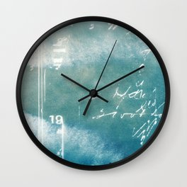 Blue Vintage Writing Cyanatope Print Wall Clock