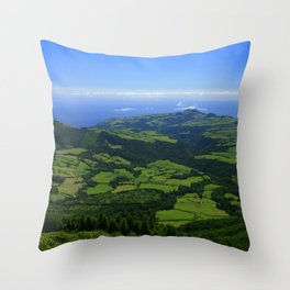 Green coastal landscape Throw Pillow