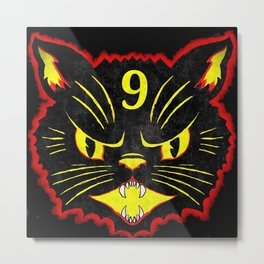 Nine Lives Black Cat Metal Print