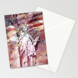 Modern-Art STATUE OF LIBERTY red Stationery Cards