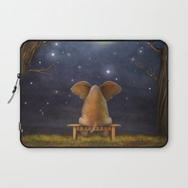 Illustration of a elephant on a bench in the night forest  Laptop Sleeve