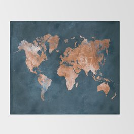 world map 15 Throw Blanket