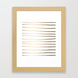 Simply Drawn Stripes in White Gold Sands Framed Art Print