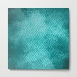 Textured limpet blue chevron pattern Metal Print