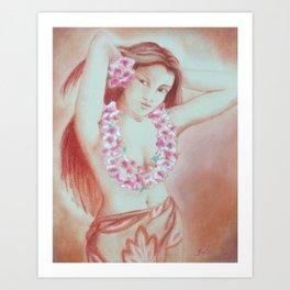 Hawaiian Girl with Lei, Vintage Art Print