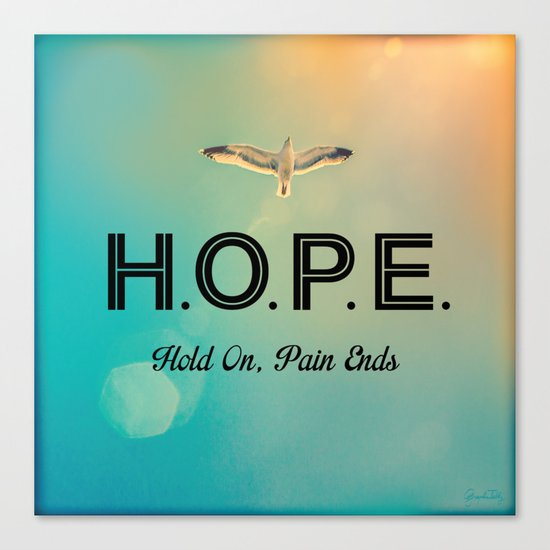 Always Have Hope (Seagull Flying in Teal Sky) Canvas Print
