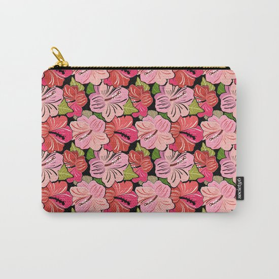 Pink Hibiscus Floral Pattern Carry-All Pouch