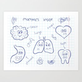 A funny doodle concept illustration. Monsters inside each human body.  Art Print