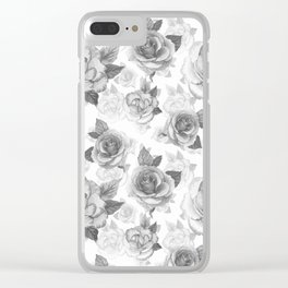 Hand painted black white watercolor roses floral pattern Clear iPhone Case