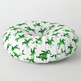 Watercolor Showjumping Horses (Green) Floor Pillow