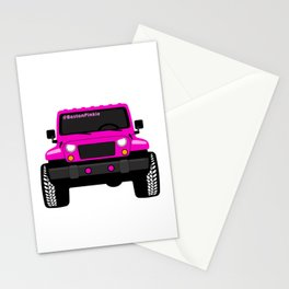'Boston' Pink Jeep Girl Stationery Cards