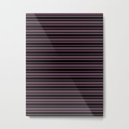 Eggplant Violet and Black Horizontal Var Size Stripes Metal Print