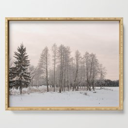 russian snowy trees Serving Tray