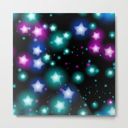 Abstract starry pattern with neon star on black background. Galaxy Night sky with stars Metal Print